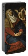 The Virgin In Prayer At The Foot Of The Cross, With Crying Angels Portable Battery Charger