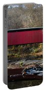 The Wissahickon Creek In Autumn - Thomas Mill Covered Bridge Portable Battery Charger