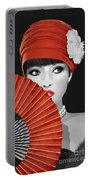 Woman With Paper Fan Portable Battery Charger