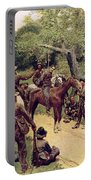 They Talked It Over With Me Sitting On The Horse Portable Battery Charger by Howard Pyle
