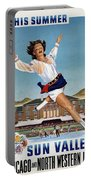 This Summer Sun Valley - Chicago And North Western Line - Retro Travel Poster - Vintage Poster Portable Battery Charger