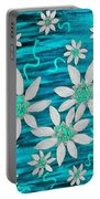 Three And Twenty Flowers On Blue Portable Battery Charger