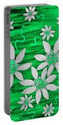 Three And Twenty Flowers On Green Portable Battery Charger