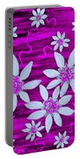 Three And Twenty Flowers On Pink Portable Battery Charger
