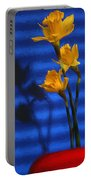 Three Cheers - Yellow Daffodils In A Red Bowl Portable Battery Charger