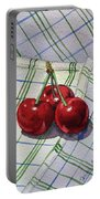 Three Sweet Cherries By Irina Sztukowski Portable Battery Charger