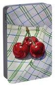 Three Sweet Cherries By Irina Sztukowski Portable Battery Charger