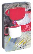Three Coffee Cups Red And White Portable Battery Charger
