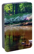 Three Ducks At The Azalea Pond Portable Battery Charger