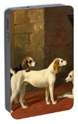 Three Fox Hounds In A Paved Kennel Yard Portable Battery Charger