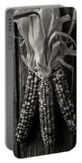Three Indian Corn In Black And White Portable Battery Charger