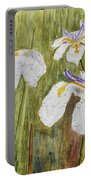 Three Irises In The Rain Portable Battery Charger