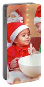 Three Kids Making Christmas Cookies Portable Battery Charger