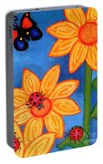 Three Ladybugs And Butterfly Portable Battery Charger