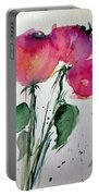 Three Pink Flowers 2 Portable Battery Charger