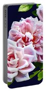 Three Pink Roses With Leaves Portable Battery Charger