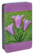 Three Pink Tulips Portable Battery Charger