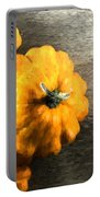 Three Pumpkins On Wood Portable Battery Charger