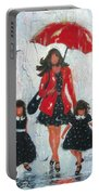 Three Rain Girls Red And Black Portable Battery Charger