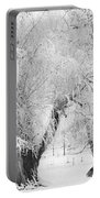 Three Snow Frosted Trees In Black And White Portable Battery Charger