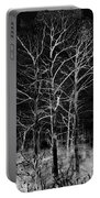 Three Trees In Black And White Portable Battery Charger