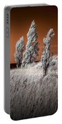 Three Trees  In Infrared On Top Of A Grassy Dune Portable Battery Charger