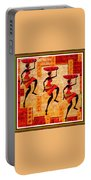 Three Tribal Dancers L B With Alt. Decorative Ornate Printed Frame. Portable Battery Charger