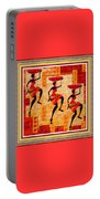 Three Tribal Dancers L B With Decorative Ornate Printed Frame Portable Battery Charger