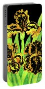 Three Yellow-black Irises, Painting Portable Battery Charger