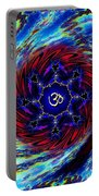 Tie Dyed Om Swirl Portable Battery Charger
