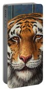 Tiger In Trouble Portable Battery Charger by James W Johnson