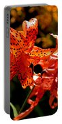 Tiger Lilies Portable Battery Charger by Rona Black