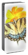 Tiger Swallowtail Butterfly, Cosmos Flower Portable Battery Charger