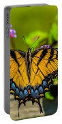 Tiger Swallowtail Butterfly By Fence Portable Battery Charger