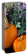 Time For Pumpkins In The Flower Beds Portable Battery Charger