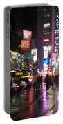 Times Square In The Rain 1 Portable Battery Charger