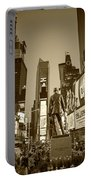 Times Square Ny Overlooking The Square Sepia Portable Battery Charger