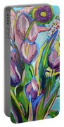 Pink Floral On Blue Portable Battery Charger