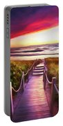 To The Beach Early Morning Watercolor Painting Portable Battery Charger