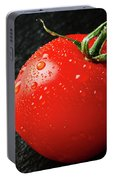 Tomatoes Close Up On Black Slate Portable Battery Charger