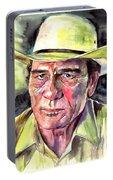 Tommy Lee Jones Portrait Watercolor Portable Battery Charger