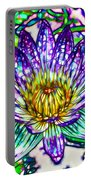 Top View Of A Beautiful Purple Lotus Portable Battery Charger