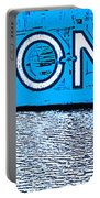 Toronto In The Rain Poster In Blue Portable Battery Charger