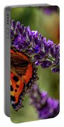 Tortoiseshell Butterfly On Lavender Portable Battery Charger