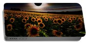 Total Eclipse Over The Sunflower Field Portable Battery Charger