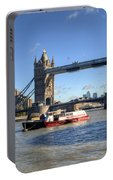 Tower Bridge With Canary Wharf In The Background Portable Battery Charger