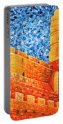 Tower Of David At Night Jerusalem Original Palette Knife Painting Portable Battery Charger
