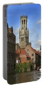 Tower Of The Belfrey From The Canal At Rozenhoedkaai Portable Battery Charger