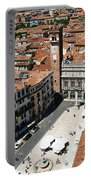 Tower View Of Piazza Delle Erbe In Verona Italy Portable Battery Charger
