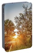 Tractor At Sunset Portable Battery Charger